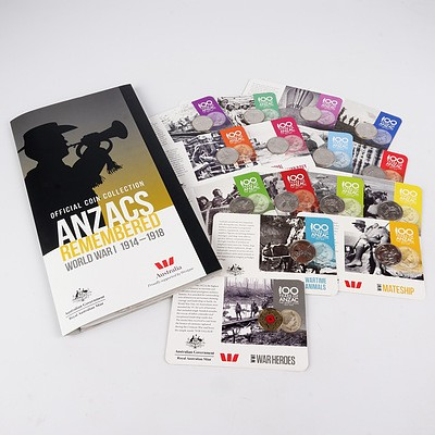 Official Coin Collection ANZACS Remembered, World War I 1914-1918, with Fifteen Carded Coins