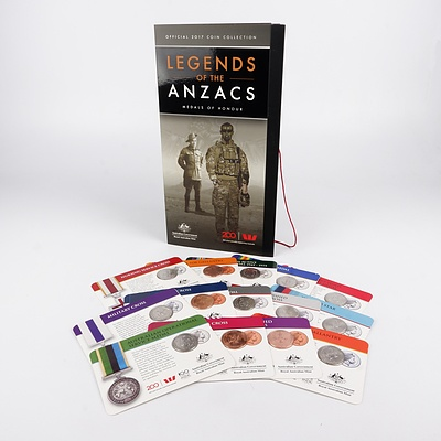 Official 2017 Coin Collection Legends of the ANZACs, Medals of Honour, with Fourteen Carded Coins