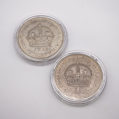 Commonwealth of Australia 1937 and 1938 Crowns, In Cases