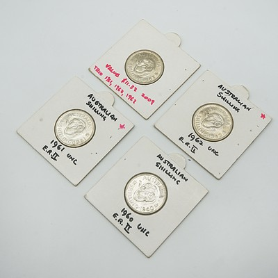 Four Carded Australian Elizabeth II Shillings, 1960, 1961, 1962, 1963
