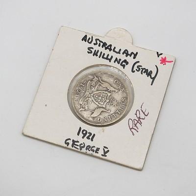 Scarce George V 1921 Star Shilling in Card