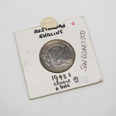 1943 S George V Shilling in Card