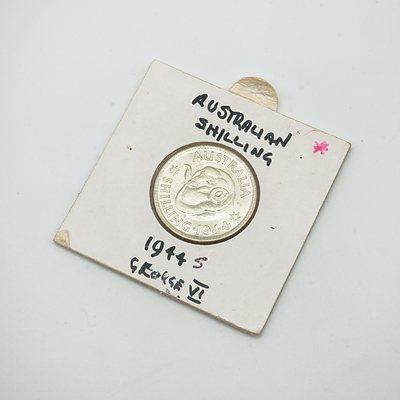 1944 S George VI Shilling in Card
