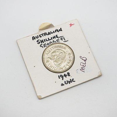 1948 Melbourne George VI Shilling in Card