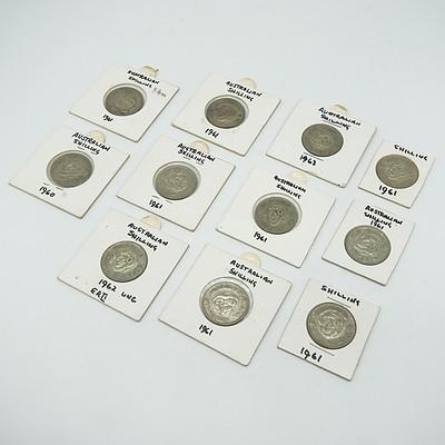 Eleven Australian Shillings in Cards, 1960-1963 (11)