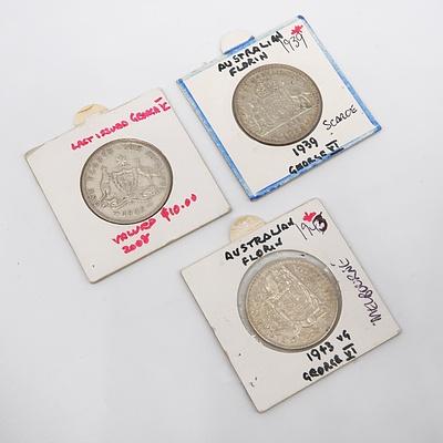 Australian 1939, 1935 and 1943 Florins