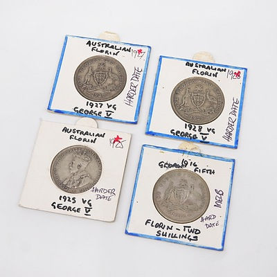Four George V Florins, 1916, 1925, 1927 and 1928