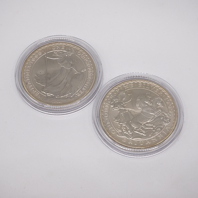 Two Britannia One Ounce Fine Silver Two Pound Coins, 1998 and 1999