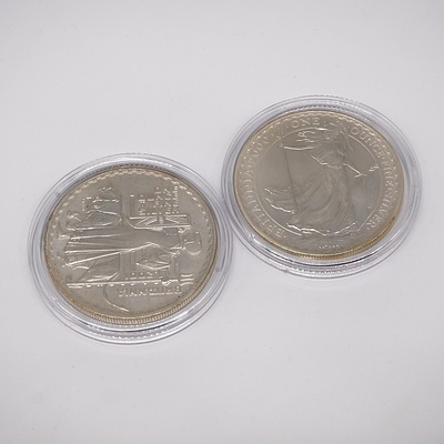 Two Britannia One Ounce Fine Silver Two Pound Coins, 2000 and 2001