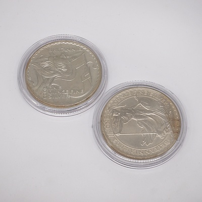 Two Britannia One Ounce Fine Silver Two Pound Coins, 2002 and 2003