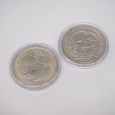 Two Britannia One Ounce Fine Silver Two Pound Coins, 2004 and 2005