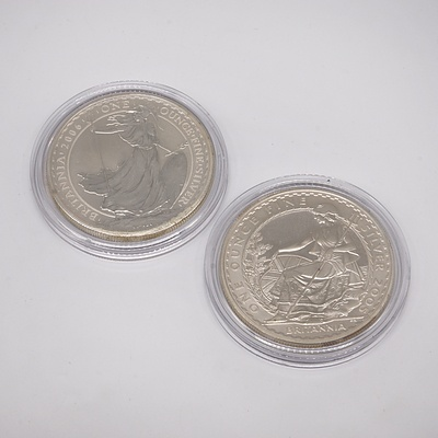 Two Britannia One Ounce Fine Silver Two Pound Coins, 2005 and 2006