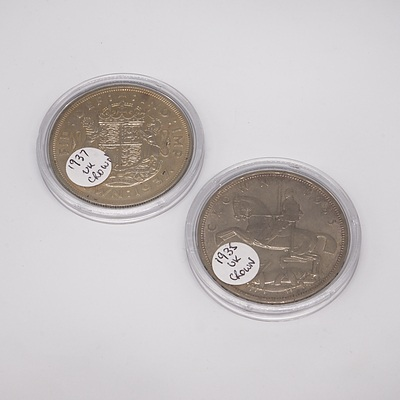 UK 1935 and 1937 Crowns in Cases