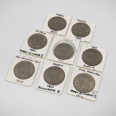 Eight British 1967 Two Shillings Coins