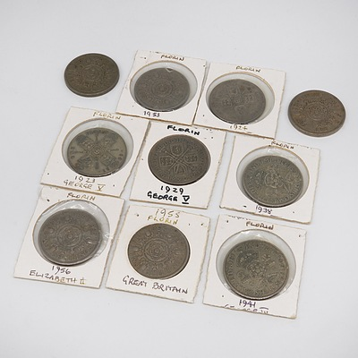 Ten British Florins and Two Shillings Coins, Including 1923, 1924, 1929, 1938, and More