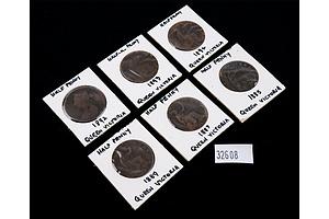 Five Victorian Half Pennies, 1885, 1887, 1889, 1892, 1893, 1894