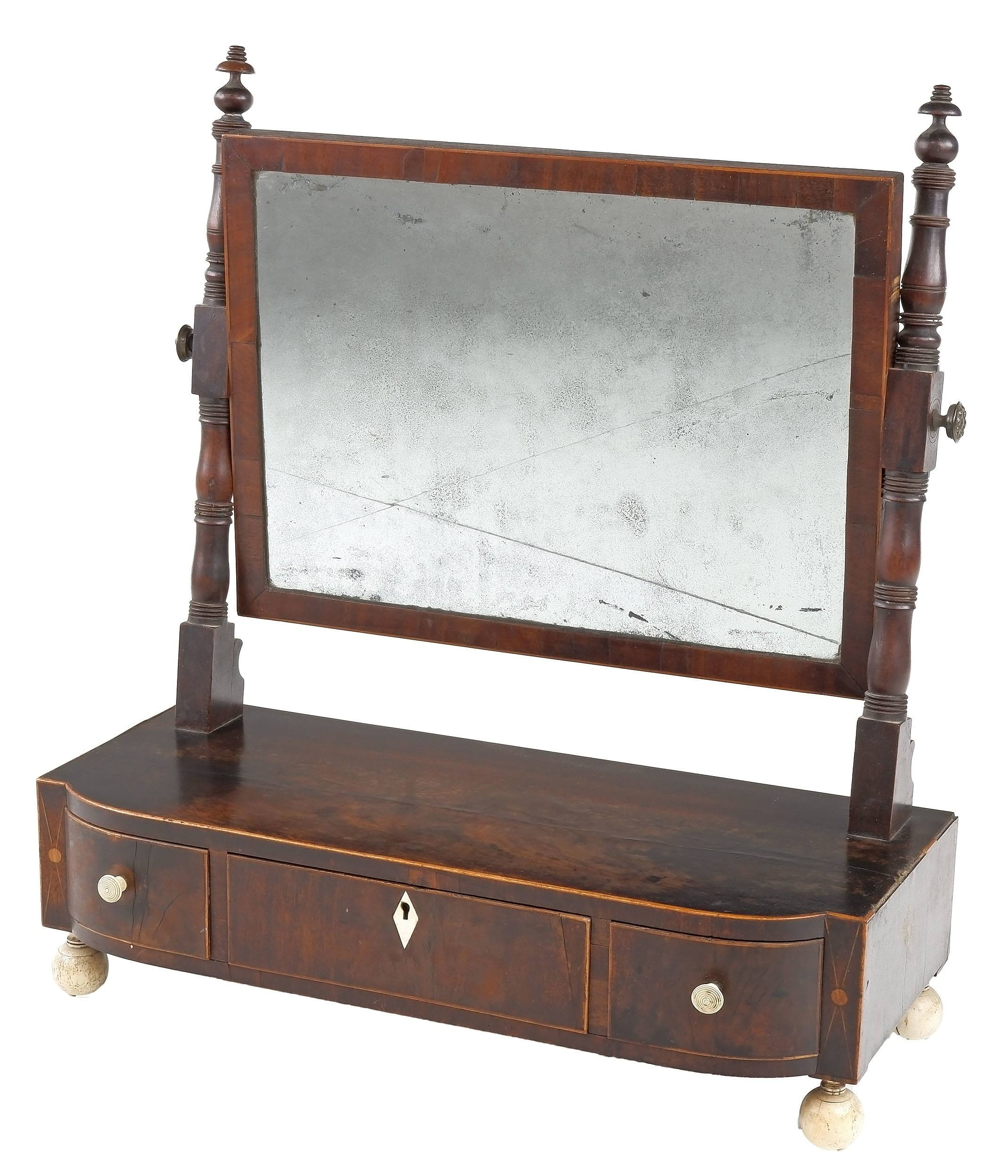 'George III String Inlaid and Ivory Adorned Mahogany Toilet Mirror Circa 1800'