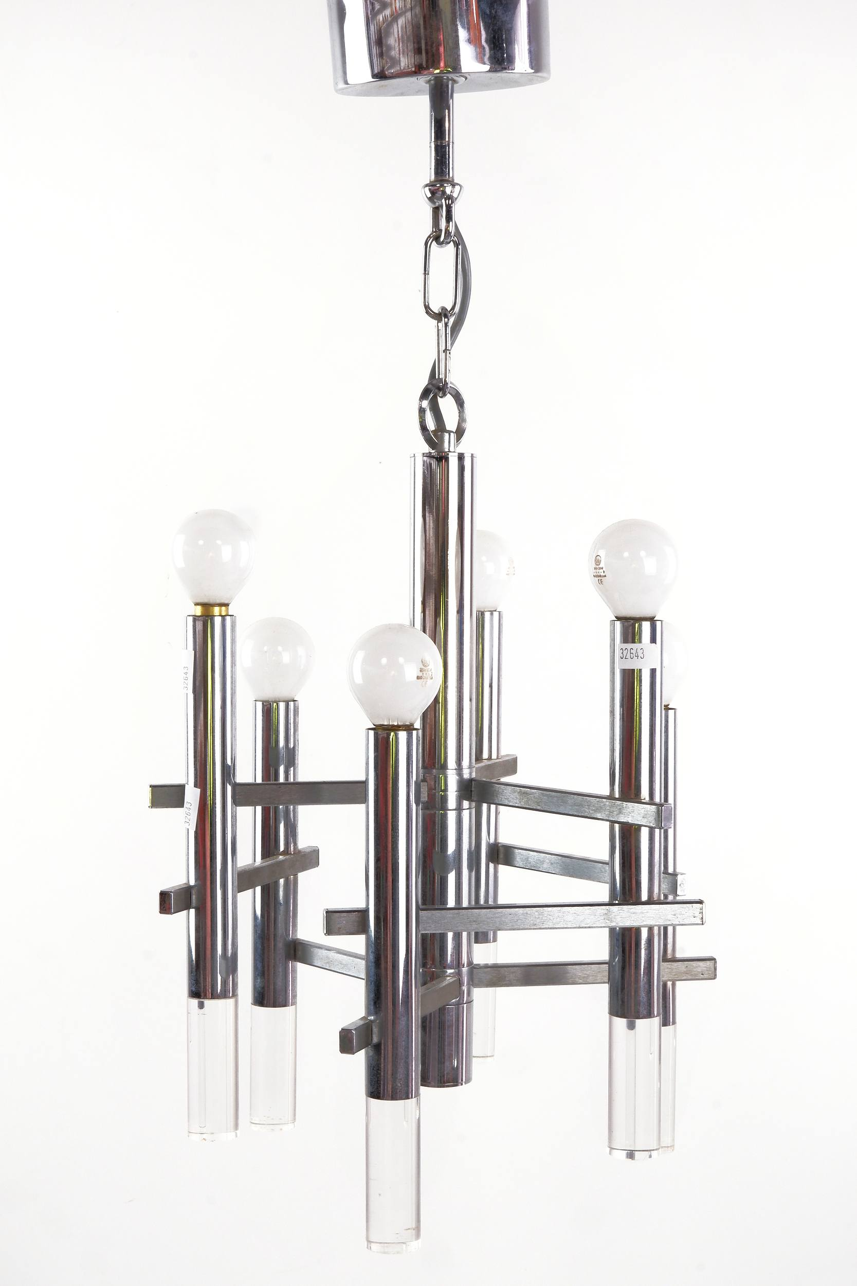 'Modernist Chrome and Acrylic Chandelier'
