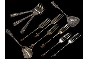 Six Silver Plated Cocktail Forks with Australian Animal Finials, .800 Silver Sugar Spoon, and Various Other Plated Flatware