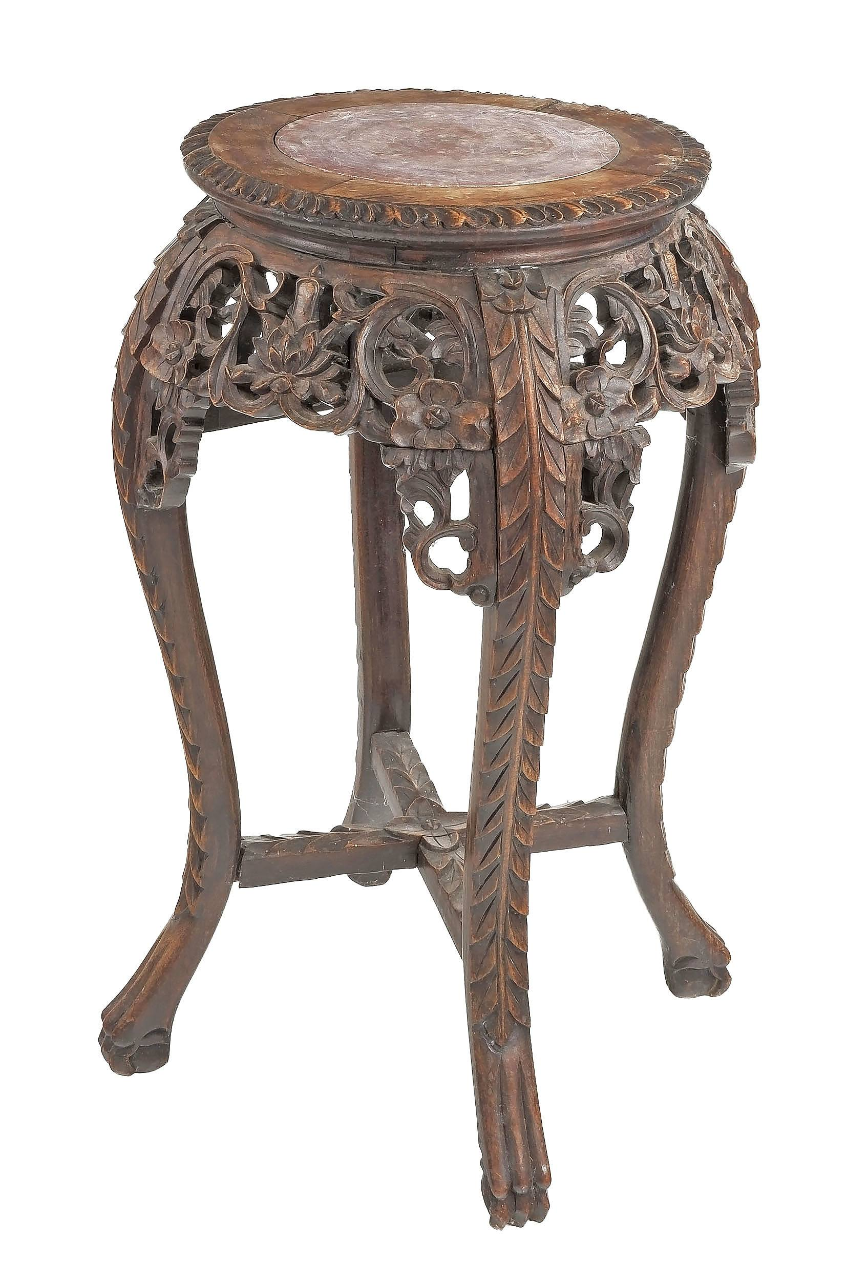 'Chinese Export Carved Hongmu and Marble Inset Pedestal, Early 20th Century'