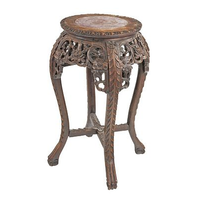 Chinese Export Carved Hongmu and Marble Inset Pedestal, Early 20th Century