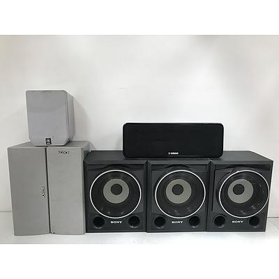 Sony and Yamaha Speakers -Lot Of Seven