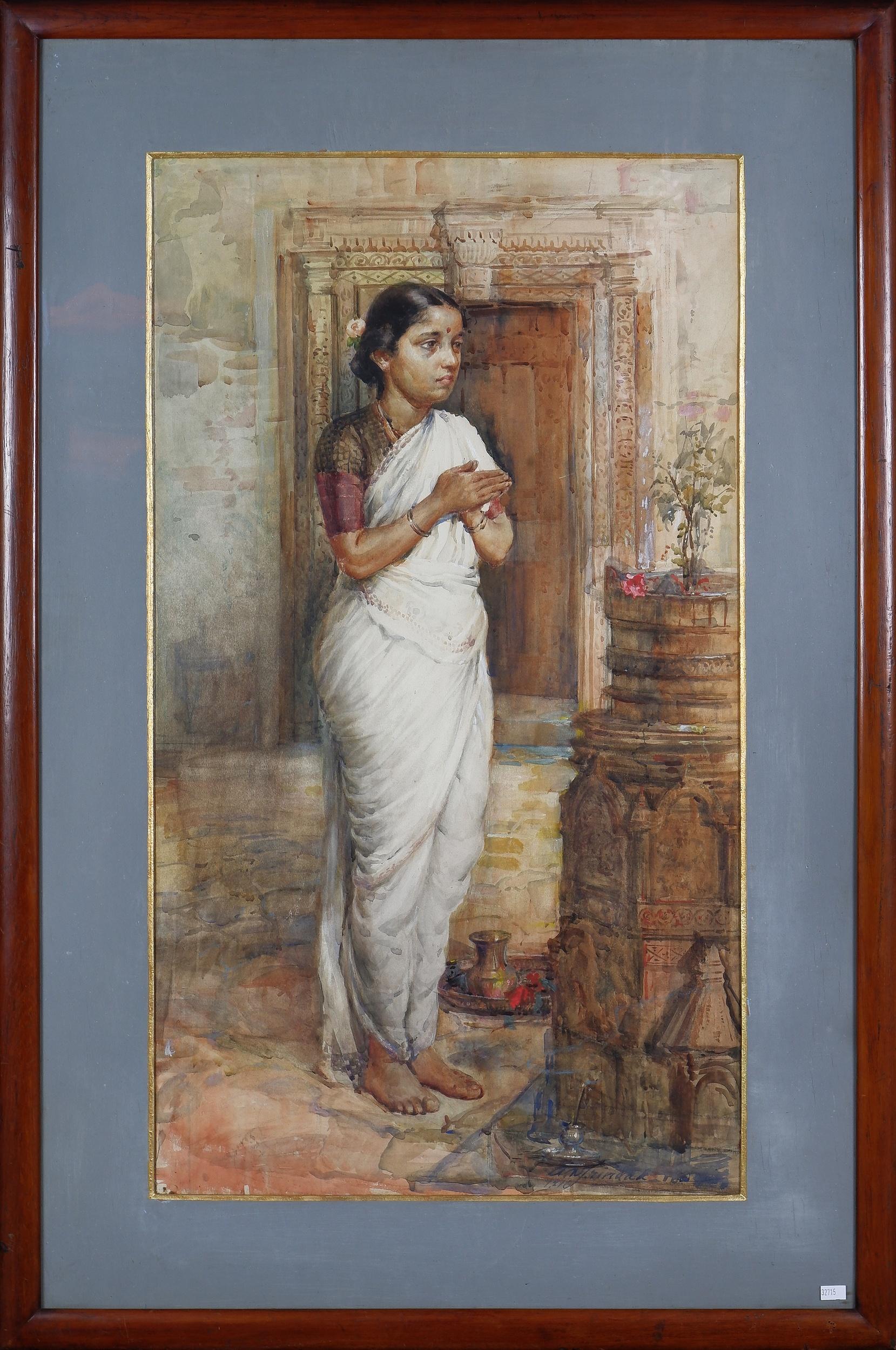 'Antonio Xavier Trindade (India 1870-1935) Hindu Bride 1916, Watercolour'