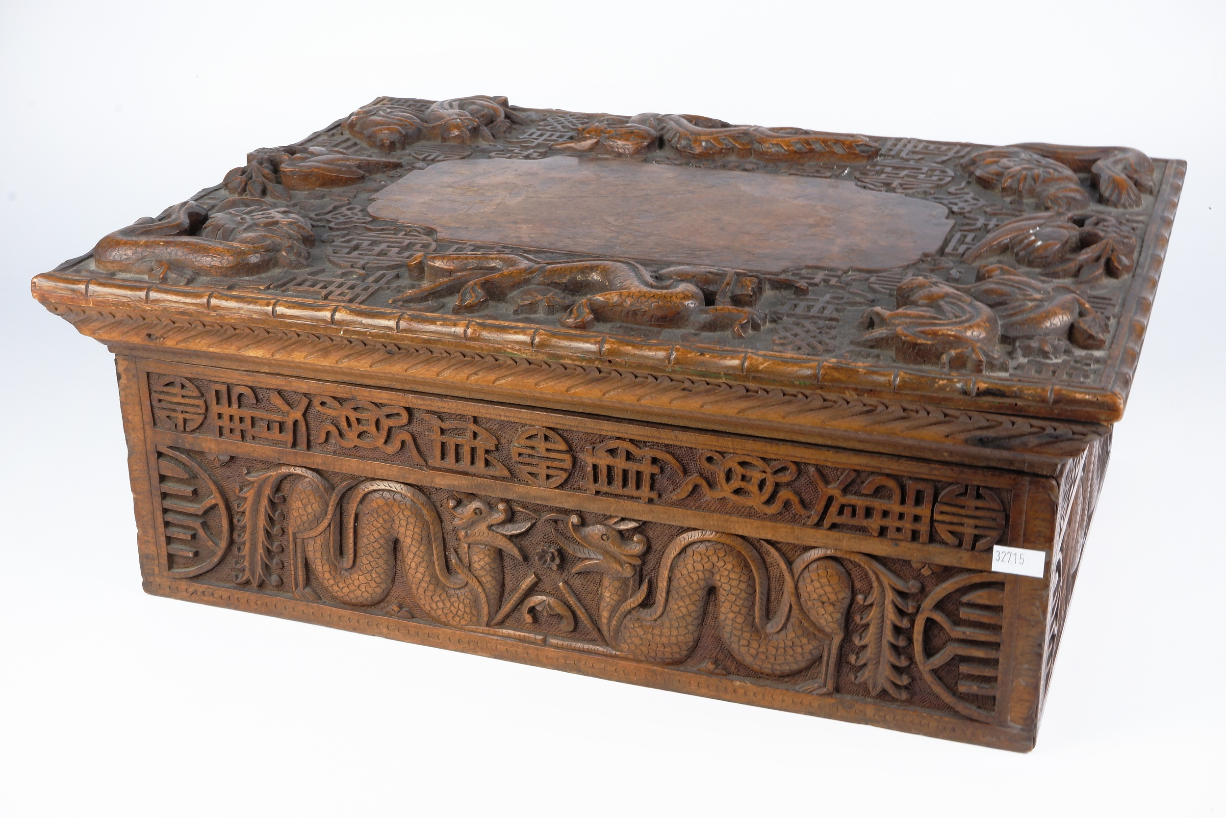 'South Chinese or Burmese Teak Writing Box Profusely Carved with Dragons and Auspicious Symbols, Circa 1900'