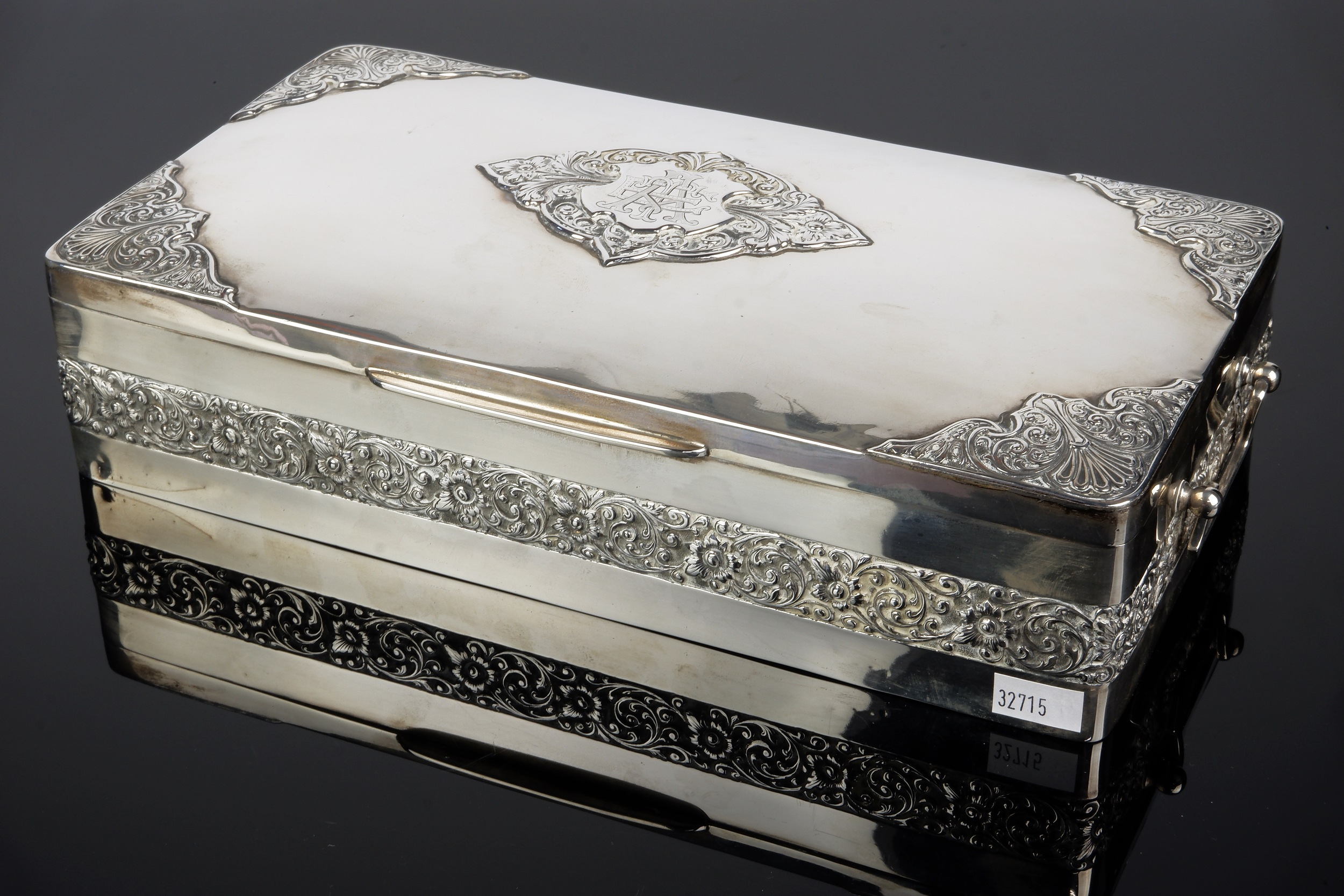 'Large Anglo-Indian Silver and Cedar Lined Cigar Box, P Orr Silversmiths Madras'