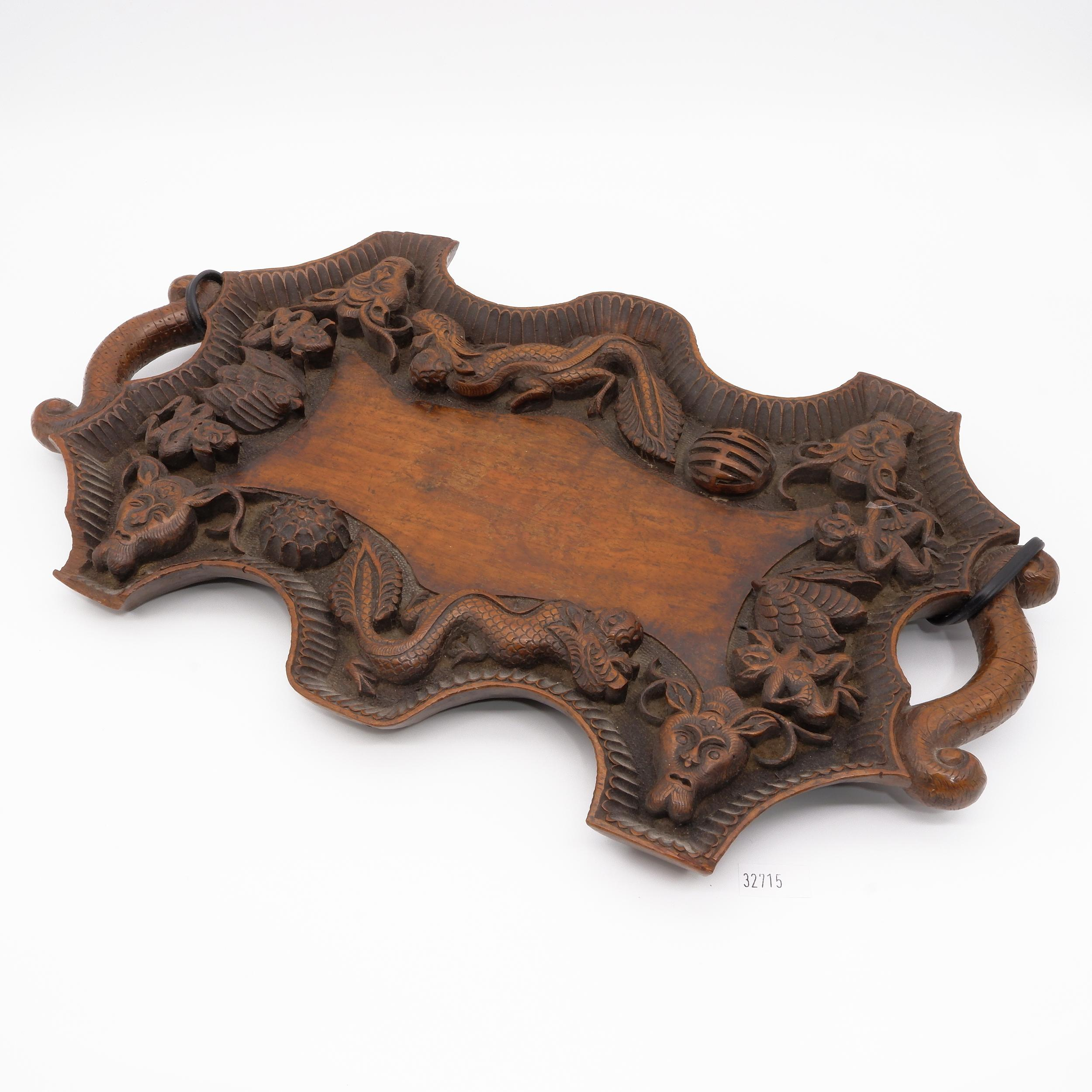 'South Chinese or Burmese Teak Tray Relief Carved with Dragons and Auspicious Symbols, Circa 1900'