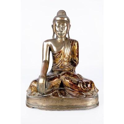Burmese Mandalay Style Gilt and Red Lacquered Bronze Figure of Buddha Shakyamuni, 19th Century