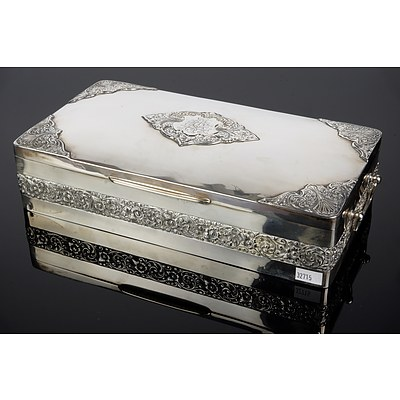 Large Anglo-Indian Silver and Cedar Lined Cigar Box, P Orr Silversmiths Madras