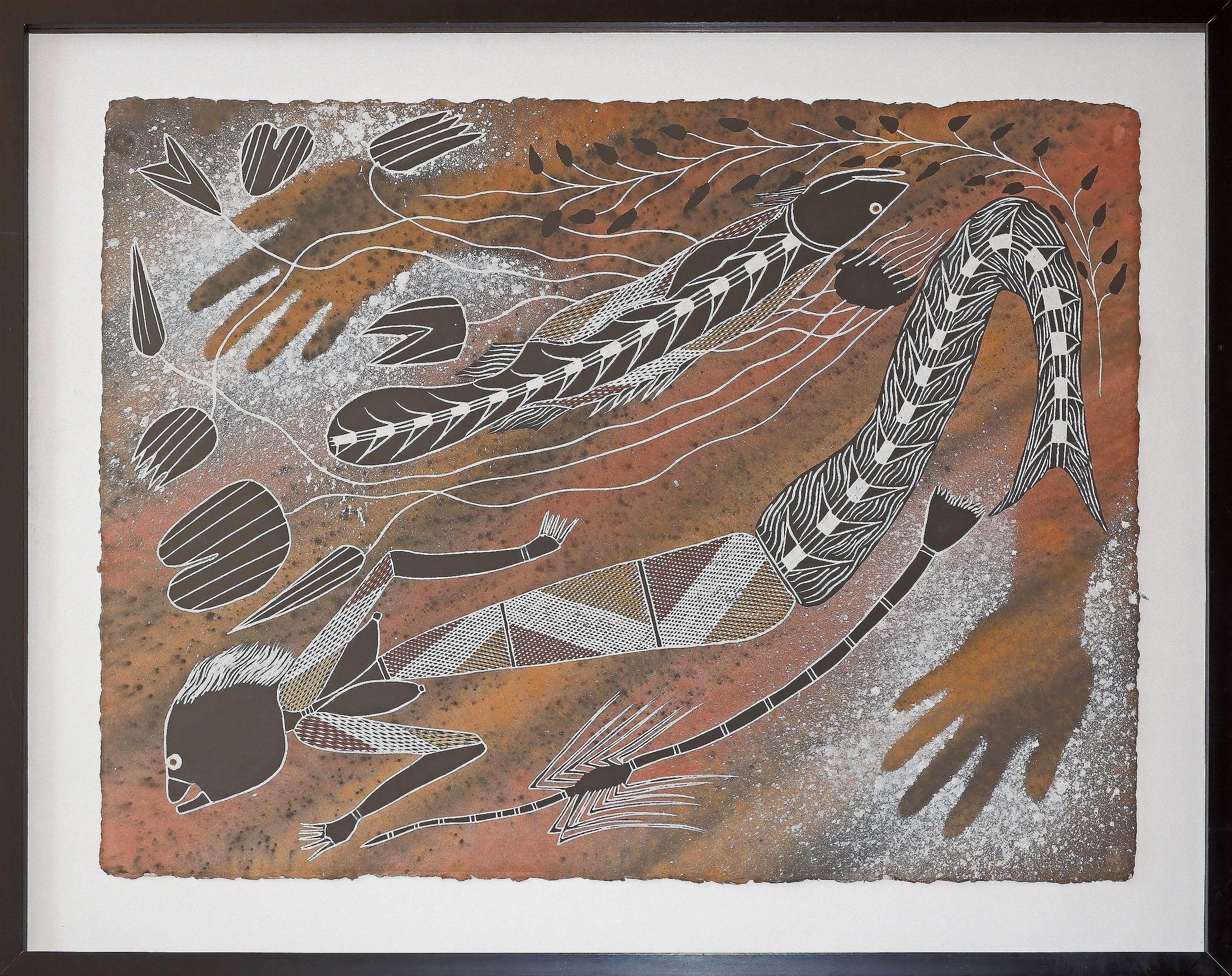 'Alex Nganjmirra (1961-2007, Kunwinjku language group) Female Water Spirits, Natural Earth Pigments on Arches Paper'