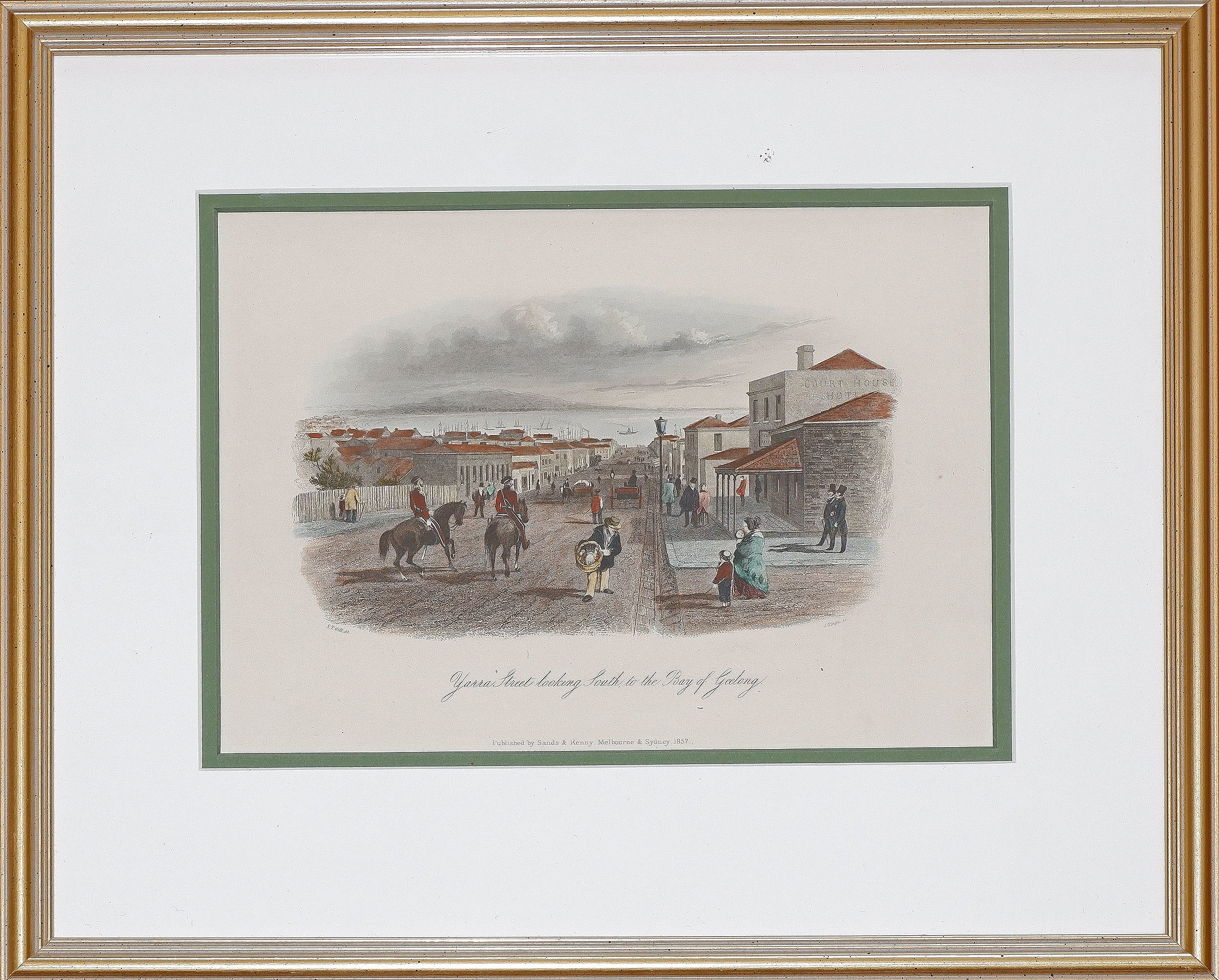 'S.T. Gill (1818-1880), Yarra Street Looking South to the Bay of Geelong, Hand-Coloured Engraving'