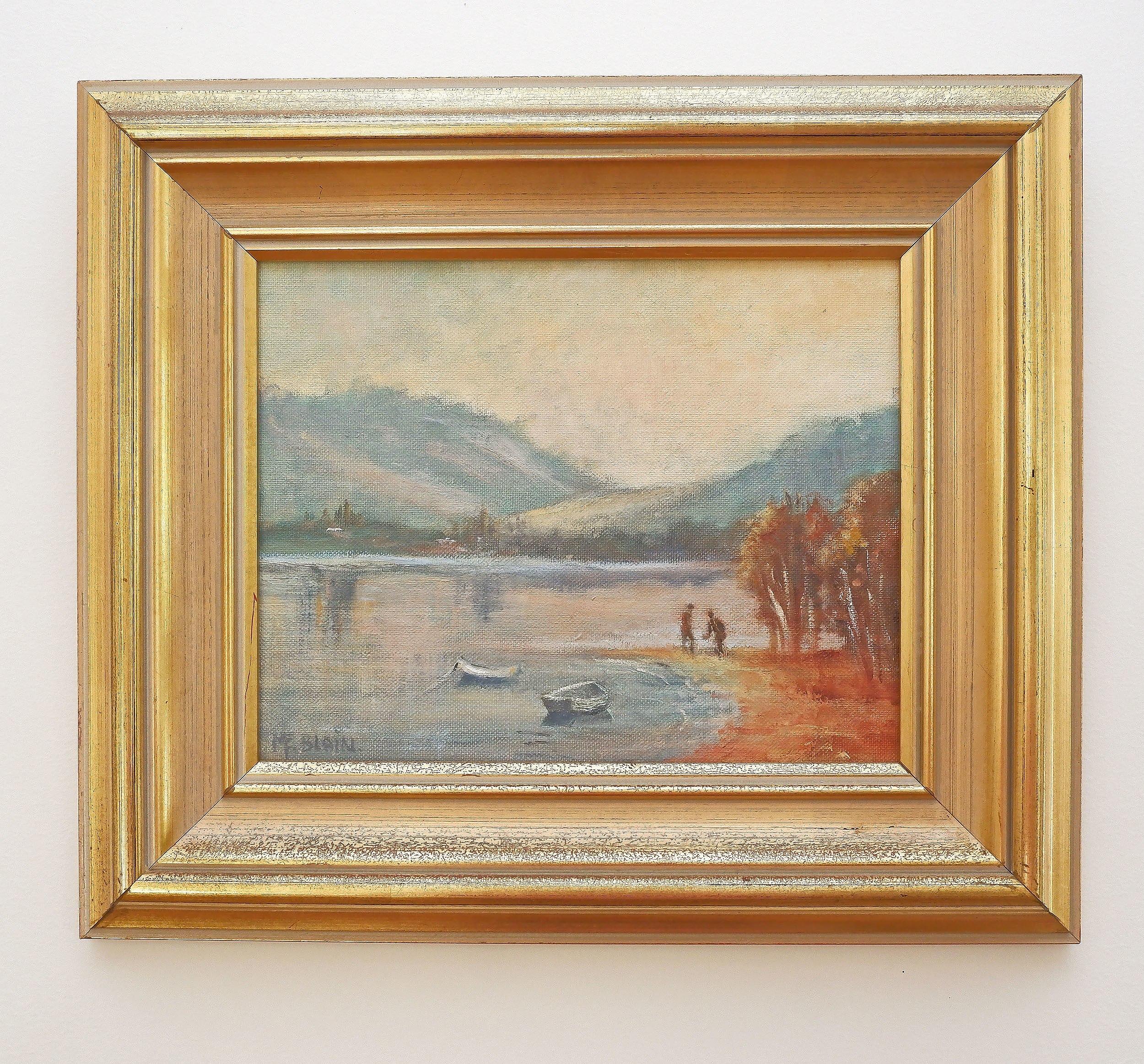 'M. F. Blain (20th Century), Untitled (Lakescene), Oil on Canvas'