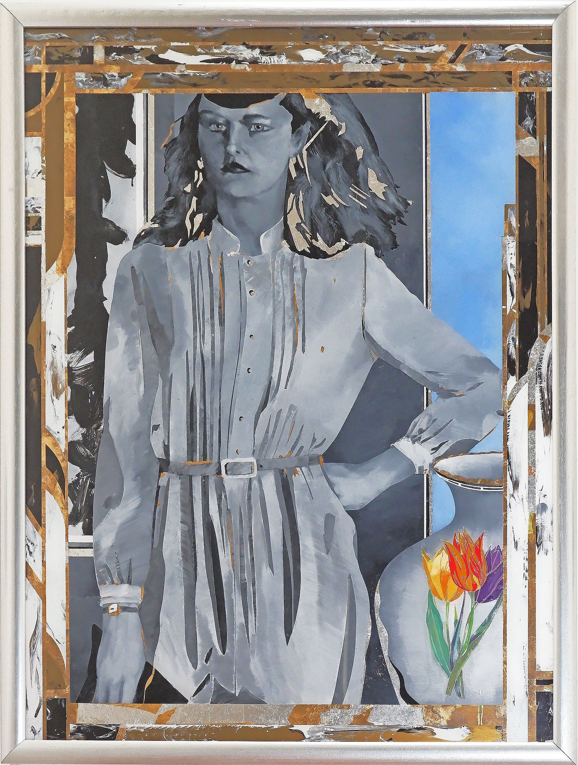 'Geoffrey Proud (born 1946), Untitled (Framed Woman with Painted Vase) 1980, Oil on Glass'