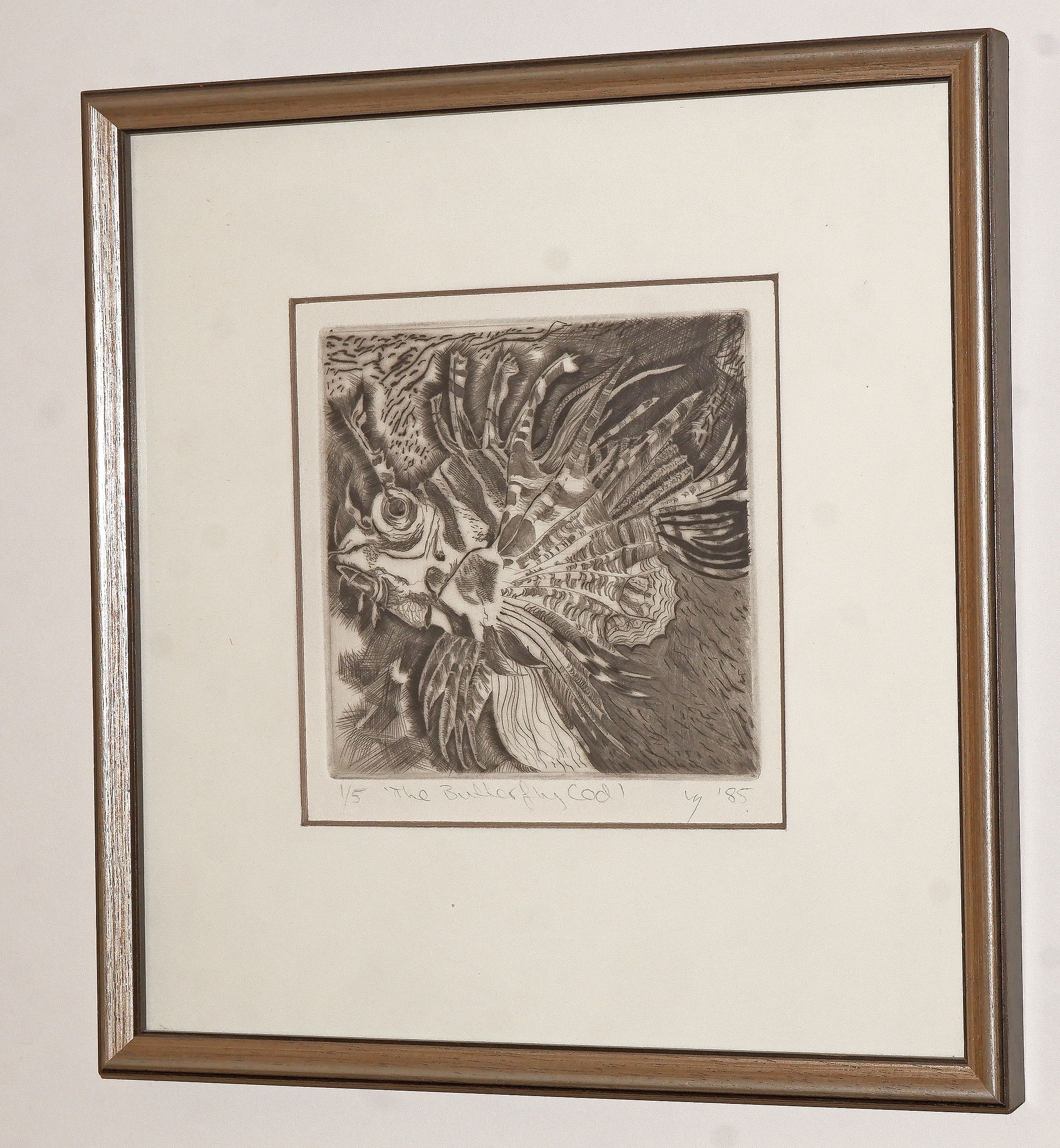 'Louise Saw (working 1980s, Australian), The Butterfly Cod 1985, Etching'