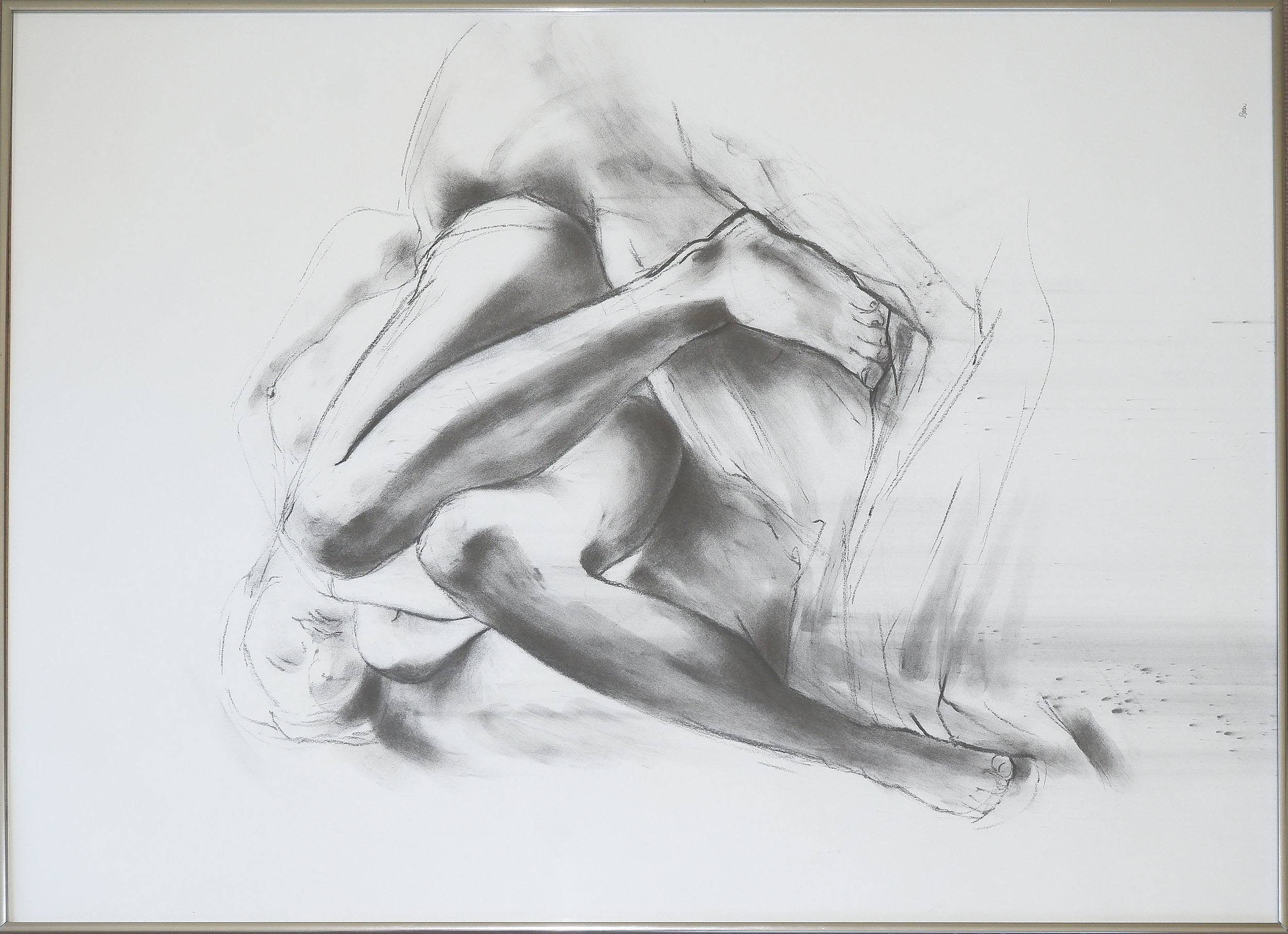 'Jan Brown (born 1951), Life Drawing - Mid-1980s, Charcoal on Paper'