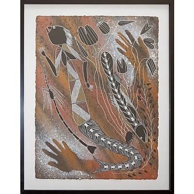 Alex Nganjmirra (1961-2007, Kunwinjku language group) Female Water Spirits, Natural Earth Pigments on Arches Paper