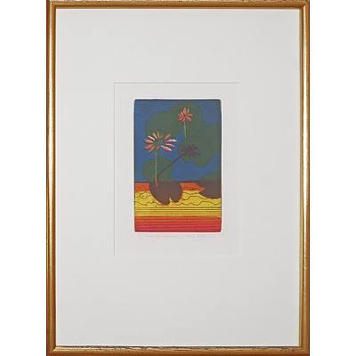 Jane Bradhurst (20th Century, Australian), Kimberley Waterlillies, Coloured Etching