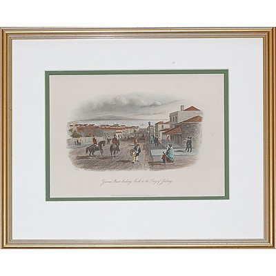 S.T. Gill (1818-1880), Yarra Street Looking South to the Bay of Geelong, Hand-Coloured Engraving