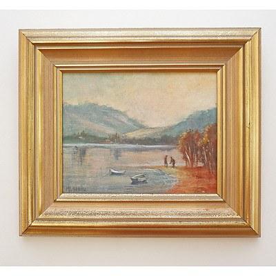 M. F. Blain (20th Century), Untitled (Lakescene), Oil on Canvas