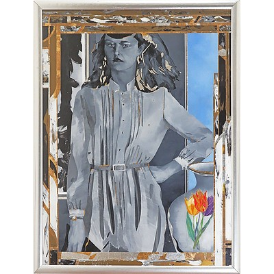 Geoffrey Proud (born 1946), Untitled (Framed Woman with Painted Vase) 1980, Mixed Media on Glass