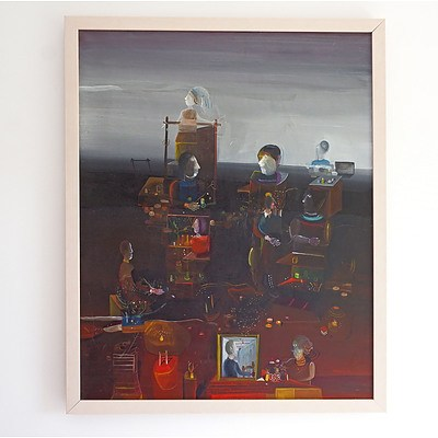 Bogoljub Ivkovic (born 1924, Yugoslavian), Untitled (Surrealist Figures in Landscape) 1979, Oil on Canvas