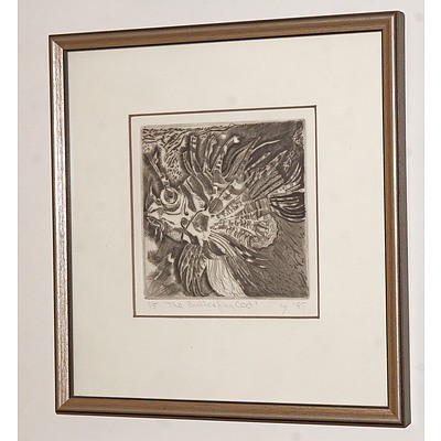Louise Saw (working 1980s, Australian), The Butterfly Cod 1985, Etching