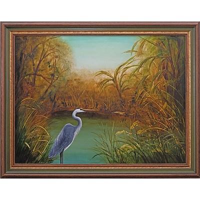 Sue Nagel (1942-) Egret, Oil on Board