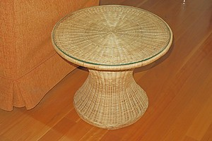 Pair of Glass Topped Woven Cane Side Tables