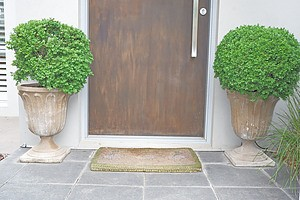 A Pair of Composite Roy Grounds Urn Form Planters with Box Plants