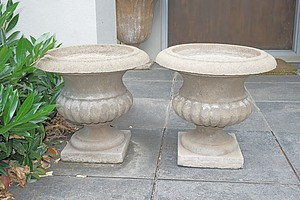 A Pair of Composite Roy Grounds Urn Form Planters
