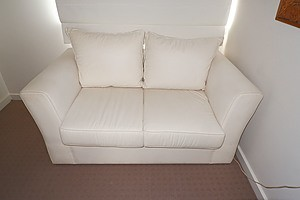 A Contemporary White Cotton Twill Sofabed